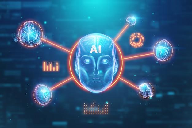 Blauer hologrammroboterkopf, künstliche intelligenz. konzept neuronale netze, autopilot, robotisierung, industrielle revolution 4.0. 3d abbildung, wiedergabe 3d.