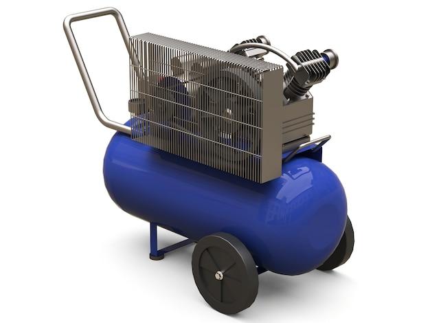 Blauer horizontaler luftkompressor lokalisiert auf einem weißen hintergrund. 3d-illustration.
