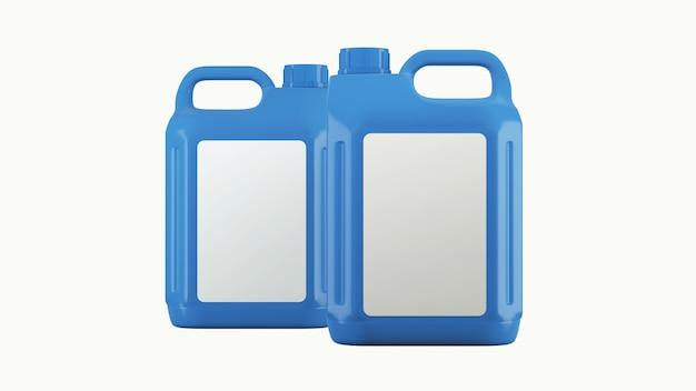 Blauer kanister mit motoröl oder schmiermittel isoliert auf weiß