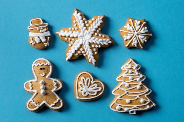 Blauer keksgeschenkhintergrund