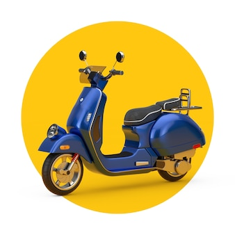 Blauer klassischer vintager retro oder elektrischer roller auf einem weißen und gelben hintergrund. 3d-rendering