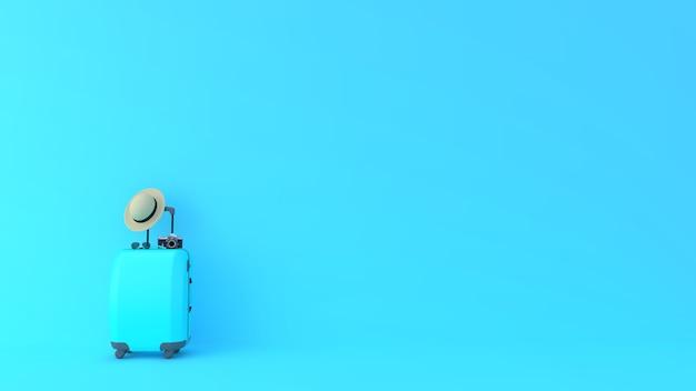 Blauer koffer für tourismus- und reisekonzept mit blauem hintergrund