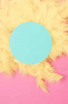 Blauer kreisrahmen über den gelben federn gegen rosa hintergrund
