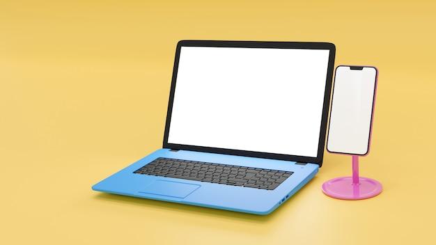Blauer laptop und rosa smartphone der leeren 3d-illustration auf hellgelber wand, bunter laptop-computer und handy mit weißer anzeige.