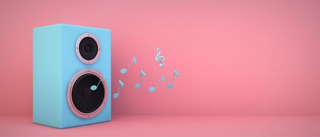 Blauer lautsprecher auf rosa raum mit copyspace