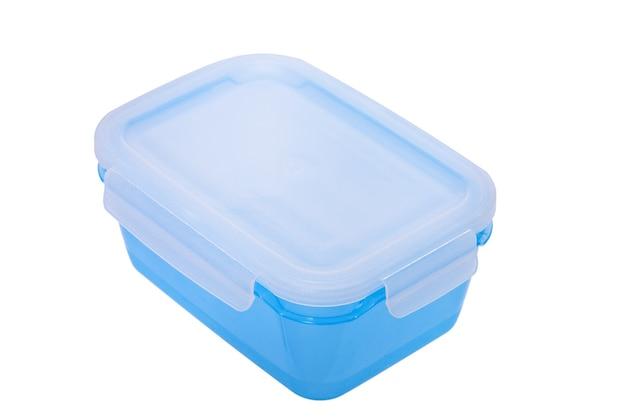 Blauer lebensmittelbehälter isoliert auf weißem hintergrund