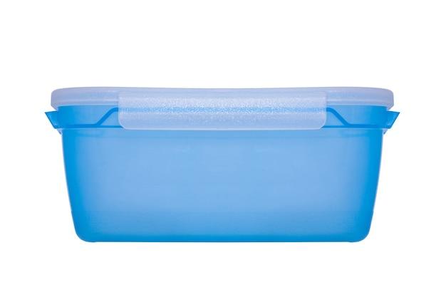 Blauer lebensmittelbehälter isoliert auf weißem hintergrund Premium Fotos