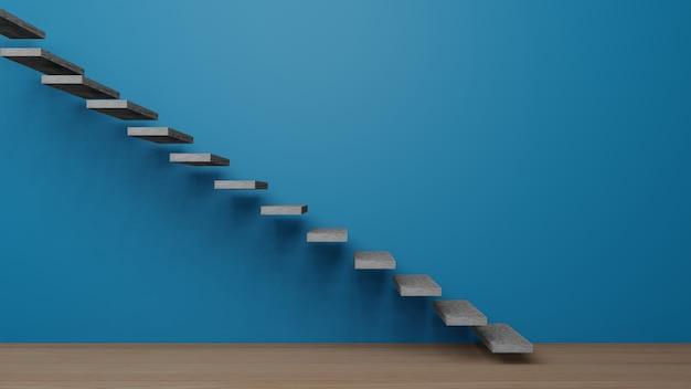 Blauer leerer raum mit treppe, 3d-darstellung