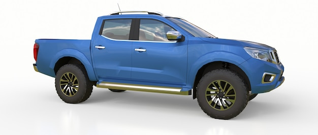Blauer lieferwagen für nutzfahrzeuge mit doppelkabine. maschine ohne abzeichen mit einem sauberen leeren körper zur aufnahme ihrer logos und etiketten. 3d-rendering.
