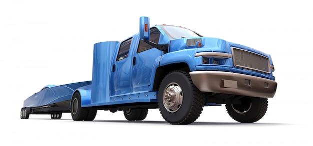 Blauer lkw mit einem anhänger für den transport eines rennboots auf einem weißen hintergrund