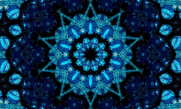 Blauer marinekaleidoskopmusterzusammenfassungshintergrund. kreismuster. abstrakter fraktaler kaleidoskophintergrund. geometrische symmetrische verzierung des abstrakten fraktalmusters. kaleidoskop blaues muster.