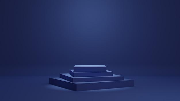 Blauer minimaler podium-3d-rendering-hintergrund