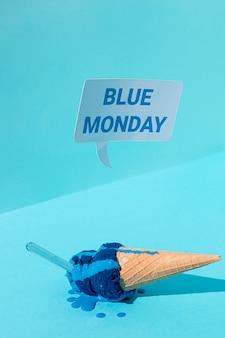 Blauer montag konzept mit eis