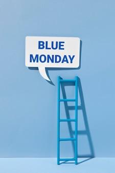Blauer montag mit chatblase und leiter