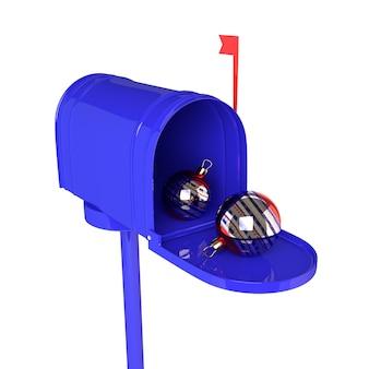 Blauer offener briefkasten mit weihnachtsbällen auf weißem hintergrund. 3d abbildung.