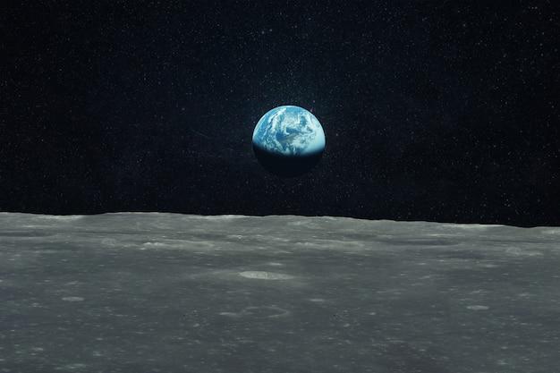 Blauer planet erde blick vom mond. reise zum mond. weltraumtapete