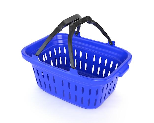 Blauer plastikkorb lokalisiert auf weißem hintergrund. 3d darstellung.