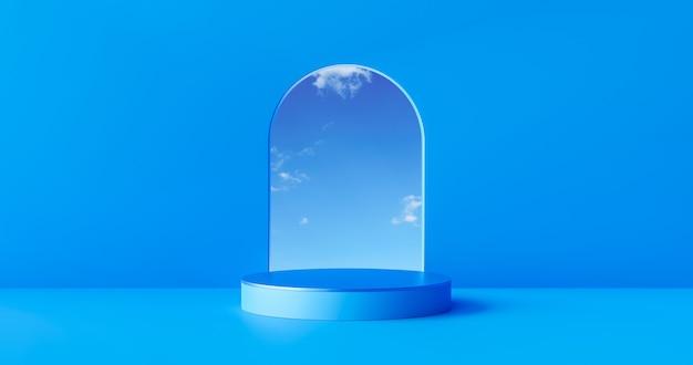 Blauer produkt-bühnen-hintergrund oder podest-display auf leerem raum für moderne kunst mit studio-schaufenster-hintergrund. 3d-rendering.