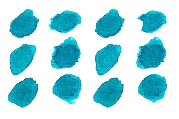 Blauer punkt aquarellfarbe.