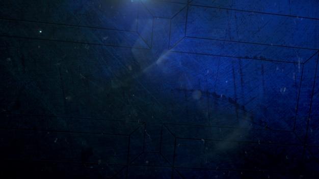 Blauer rauch der bewegung und lichteffekt auf filmischem hintergrund mit schmutzbeschaffenheit. luxuriöse und elegante 3d-darstellung des kinothemas