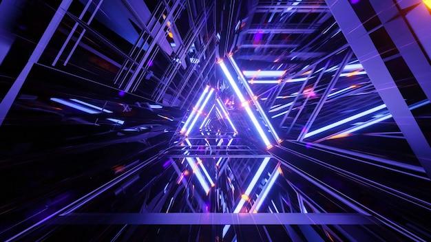 Blauer raumschiff-science-fiction-tunnel 3d hintergrund