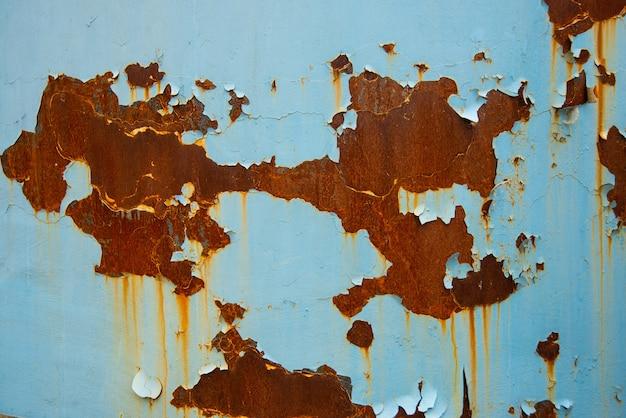Blauer rostiger metallbeschaffenheitshintergrund