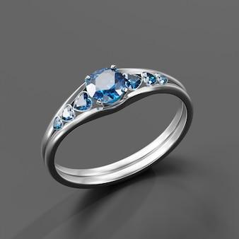 Blauer saphir-diamantring isoliert auf 3d-rendering im hintergrund
