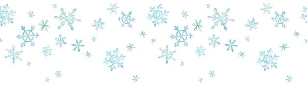 Blauer schneeflockenrahmenhintergrund, aquarellwintergrenze mit schnee.