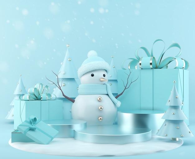 Blauer schneemann, der mit geschenkbox auf weihnachtshintergrund, szenen-podiumanzeige der wiedergabe 3d mit weihnachtsbaum steht.