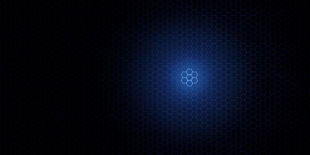 Blauer sechseckmusterhintergrund innovatives hightech-kommunikationskonzept