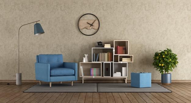 Blauer sessel in der modernen lounge