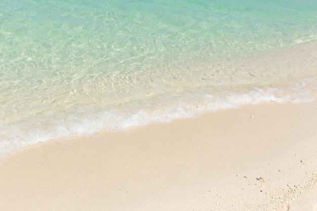 Blauer smaragdseestrand des weißen sandes für hintergrund.