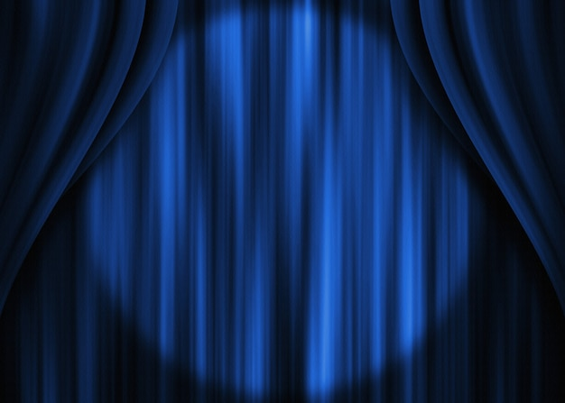 Blauer theatervorhang spotlight