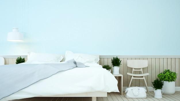 Blauer ton des schlafzimmers im haus oder in der wohnung