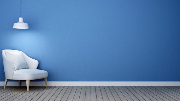 Blauer ton des wohnzimmers in der wohnung oder im haus - wiedergabe 3d