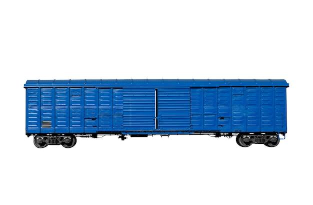 Blauer triebwagen isoliert auf weißem hintergrund. foto in hoher qualität
