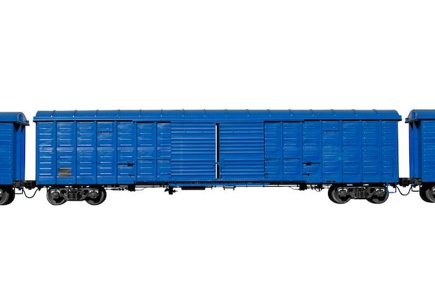 Blauer triebwagen isoliert auf weißem hintergrund