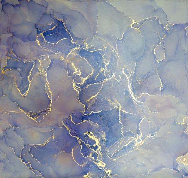 Blauer und goldener alkoholtintenspritzer, flüssige fließtexturfarbe, luxuriöses abstraktes digitales papierkunstmuster Premium Fotos