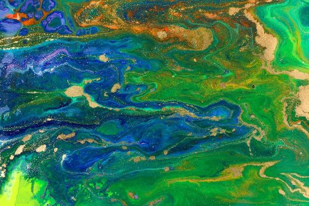 Blauer und grüner abstrakter marmorhintergrund. marine-flüssigkeitsmuster mit goldstaub.