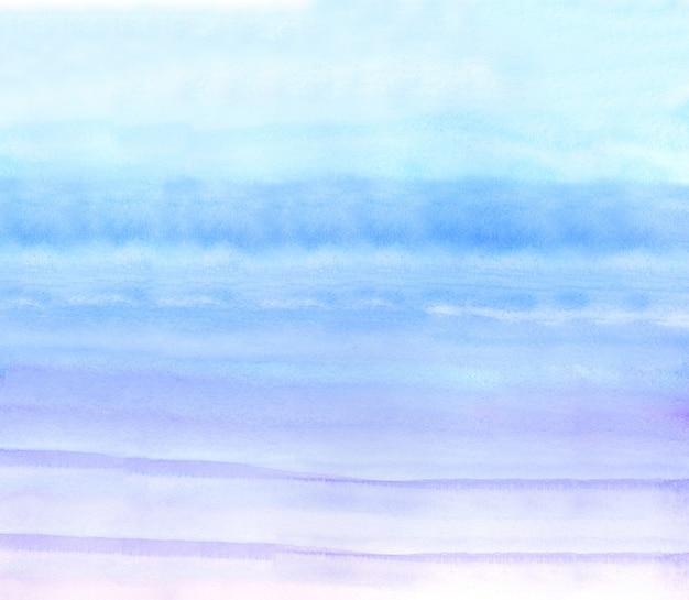 Blauer und lila aquarellhintergrund, aquarellmalerei weich strukturiert auf nassweißem papierhintergrund