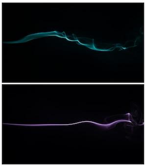 Blauer und purpurroter rauch, der gegen einen schwarzen hintergrund wirbelt