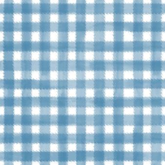 Blauer und weißer grunge-gingham-tartan-plaid-ripply abstrakter geometrischer nahtloser musterhintergrund. handgezeichnete nahtlose textur. tapeten, verpackungen, textilien, stoffe