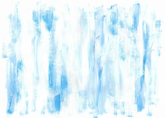 Blauer und weißer handgezeichneter abstrakter acrylhintergrund bunte pinselstriche hintergrund