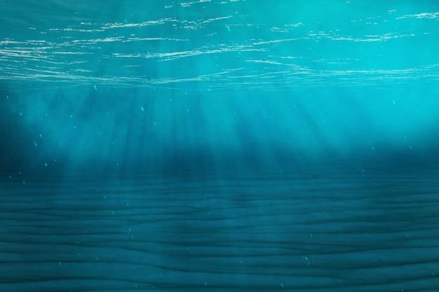 Blauer unterwasserhintergrund im meer, ozean, mit volumenlicht. 3d-rendering