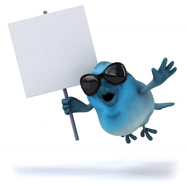 Blauer vogel mit leerem plakat