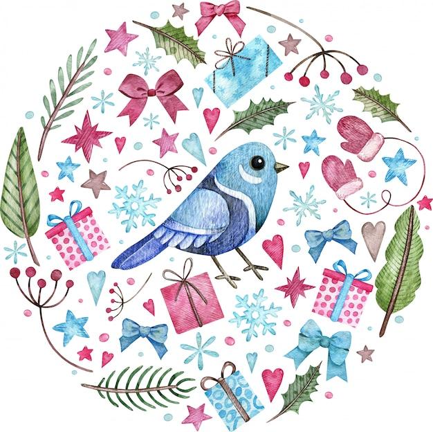 Blauer vogel mit schneeflocken, blättern und winter elemnts aquarellillustration