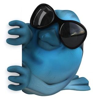 Blauer vogel mit sonnenbrille