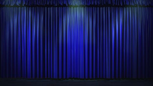 Blauer vorhang 3d beleuchtet durch scheinwerfer