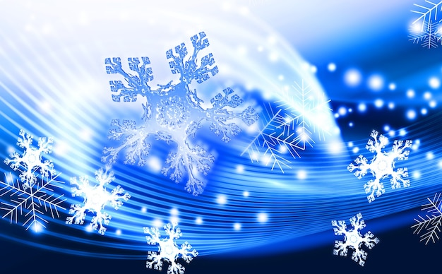 Blauer winterzusammenfassungshintergrund mit schneeflocken