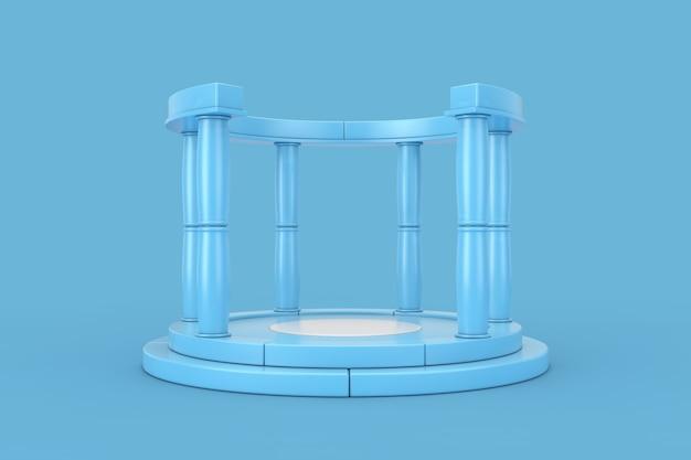 Blaues antikes podium mit spalten auf blauem grund. 3d-rendering